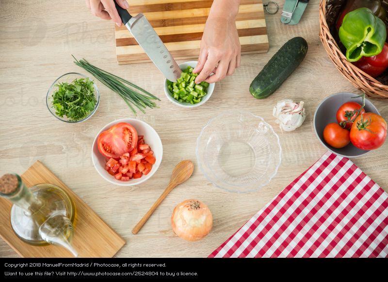 kitchen preparing healthy food